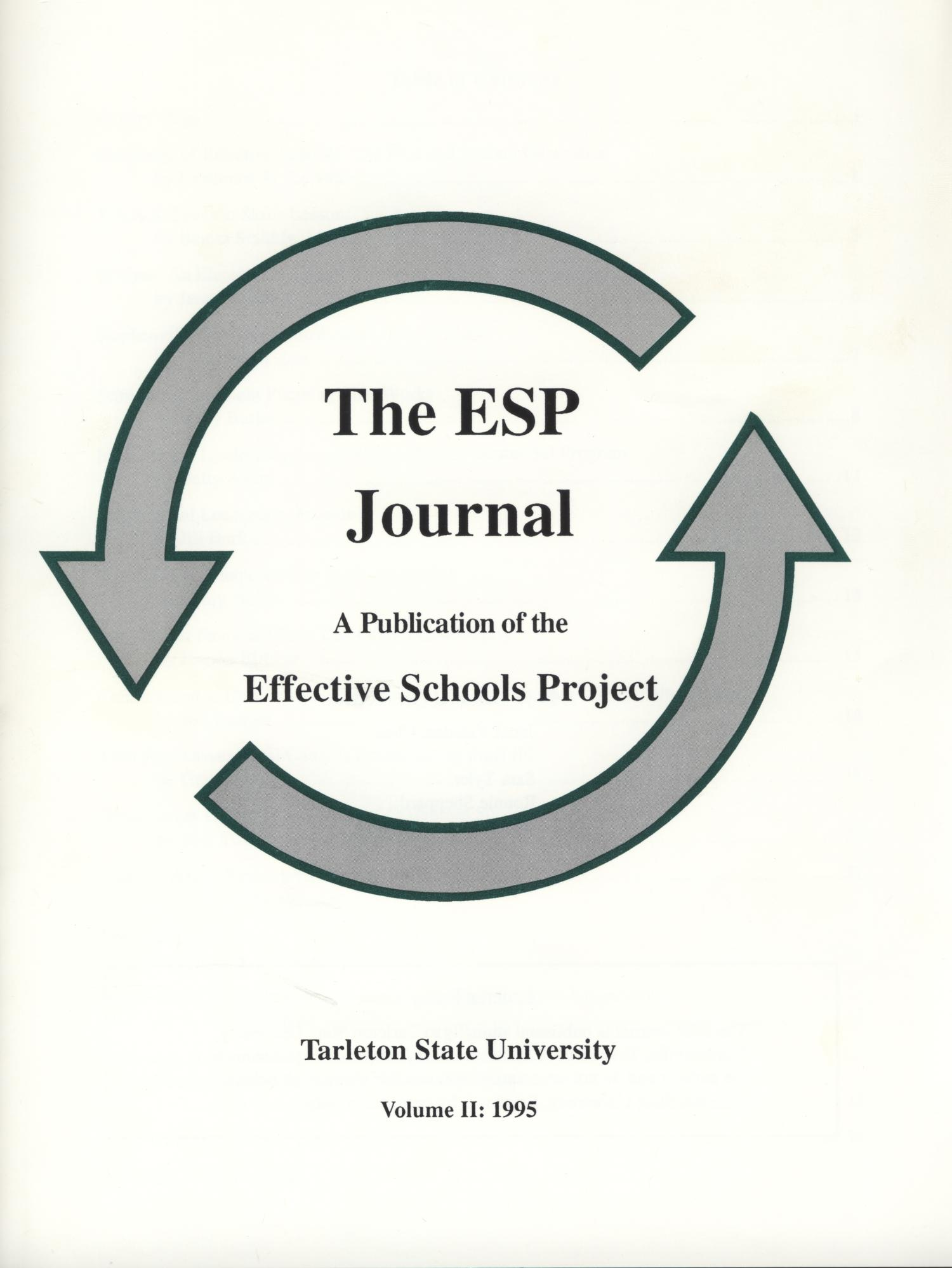 Journal of the Effective Schools Project, Volume 2, 1995                                                                                                      Front Cover