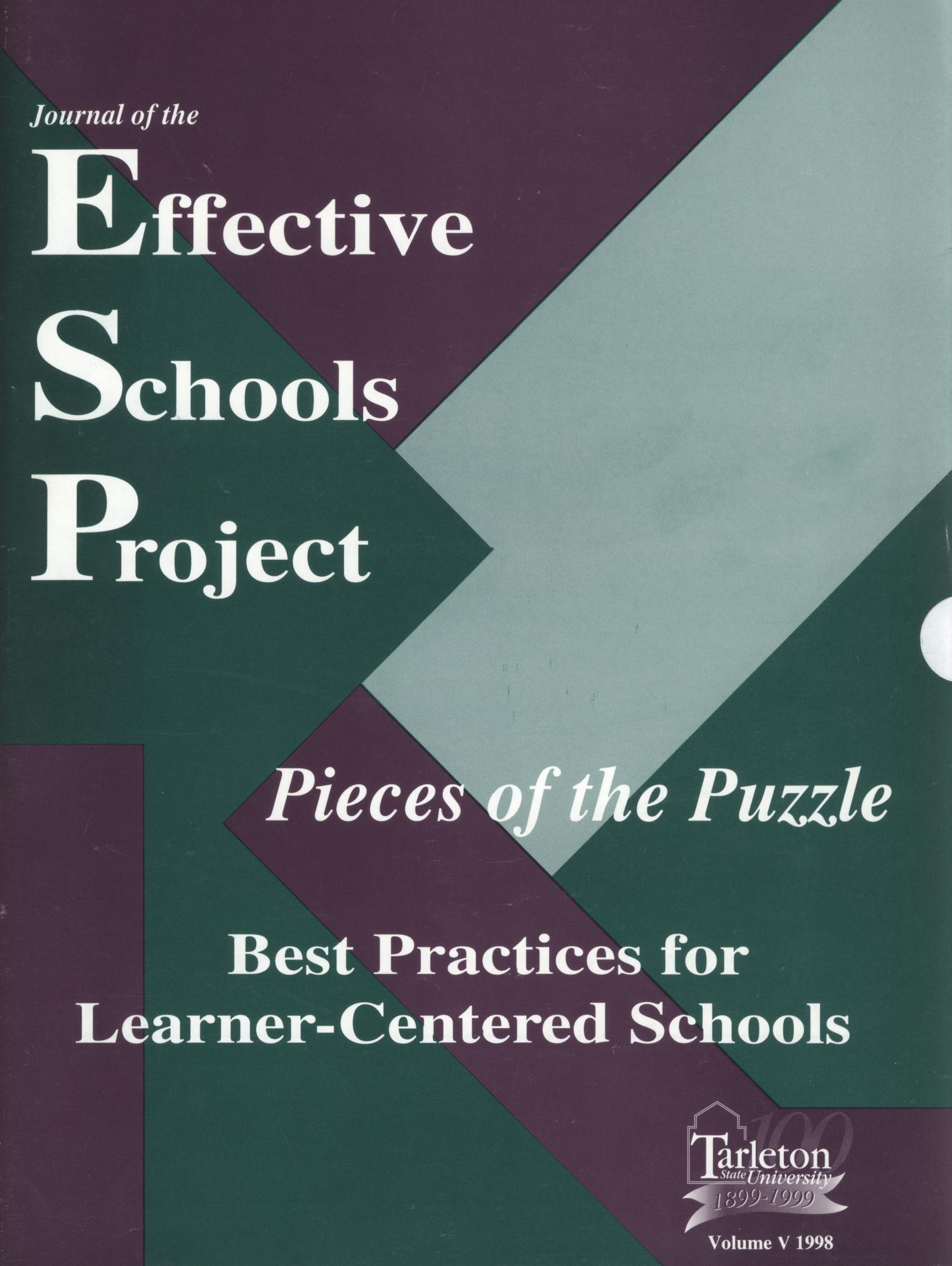 Journal of the Effective Schools Project, Volume 5, 1998                                                                                                      Front Cover
