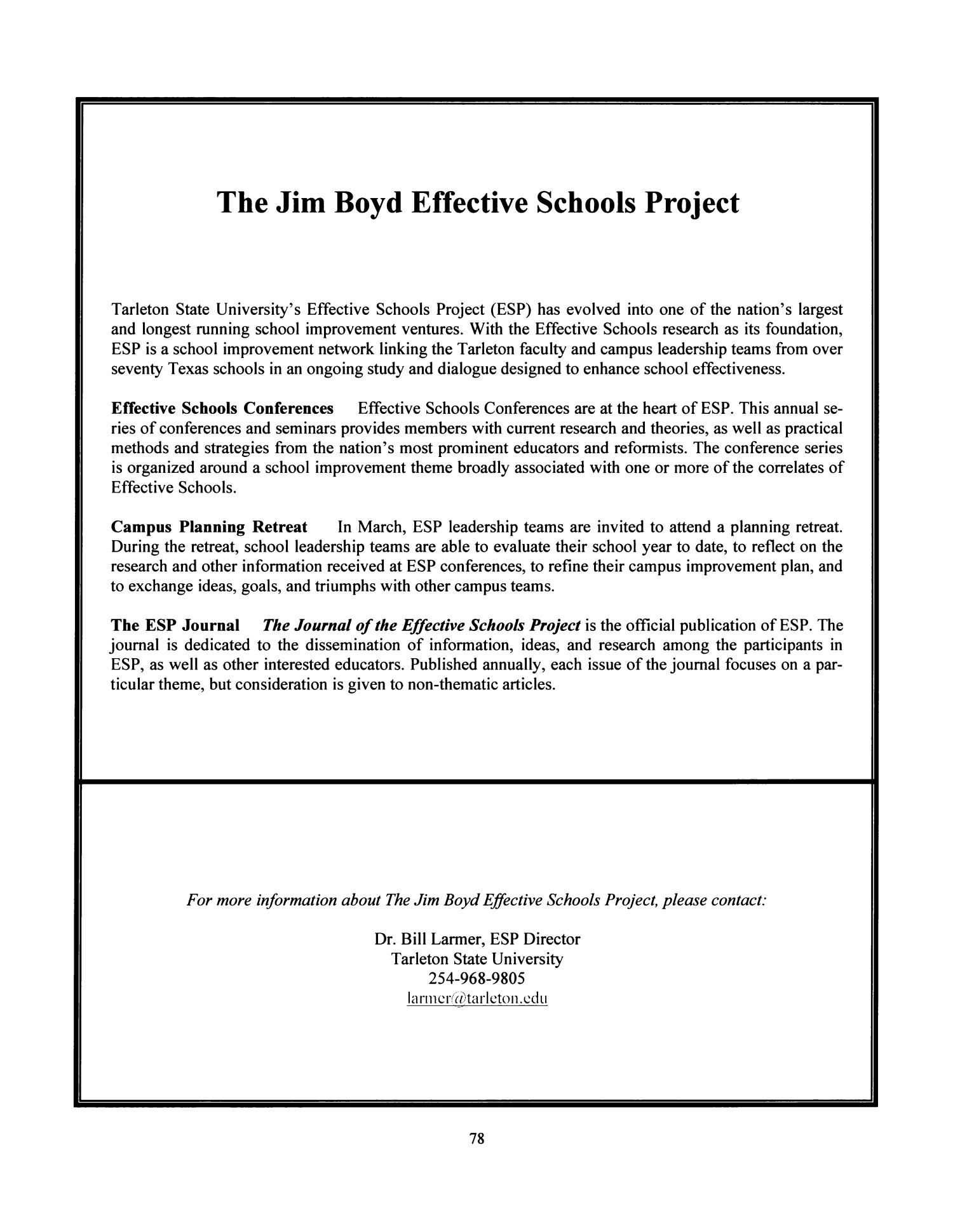 Journal of the Effective Schools Project, Volume 18, 2011                                                                                                      78