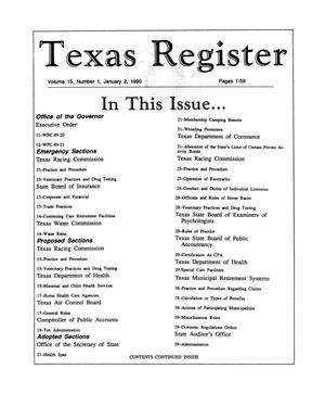 Primary view of object titled 'Texas Register, Volume 15, Number 1, Pages 1-59, January 2, 1990'.