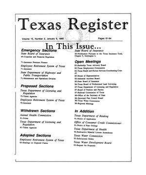 Primary view of object titled 'Texas Register, Volume 15, Number 2, Pages 61-94, January 5, 1990'.