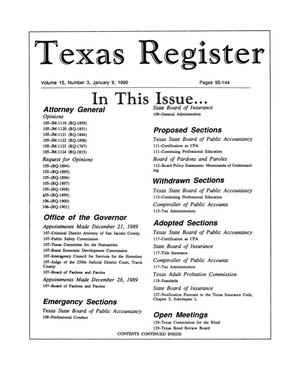 Primary view of object titled 'Texas Register, Volume 15, Number 3, Pages 95-144, January 9, 1990'.