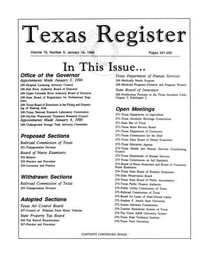Primary view of object titled 'Texas Register, Volume 15, Number 5, Pages 241-290, January 16, 1990'.