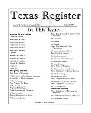 Primary view of object titled 'Texas Register, Volume 15, Number 6, Pages 291-387, January 23, 1990'.