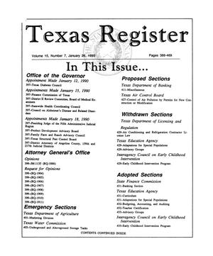 Primary view of object titled 'Texas Register, Volume 15, Number 7, Pages 389-469, January 26, 1990'.
