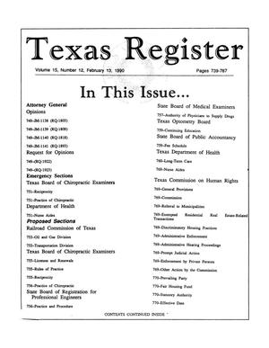 Primary view of object titled 'Texas Register, Volume 15, Number 12, Pages 739-787, February 13, 1990'.