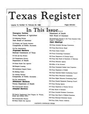 Primary view of object titled 'Texas Register, Volume 15, Number 14, Pages 905-943, February 20, 1990'.
