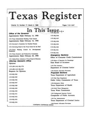 Primary view of object titled 'Texas Register, Volume 15, Number 17, Pages 1121-1207, March 2, 1990'.