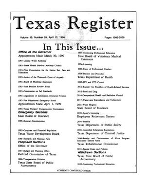 Primary view of object titled 'Texas Register, Volume 15, Number 28, Pages 1983-2056, April 10, 1990'.