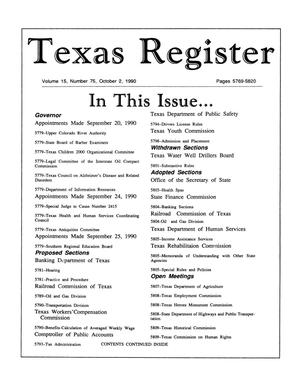 Primary view of object titled 'Texas Register, Volume 15, Number 75, Pages 5769-5820, October 2, 1990'.