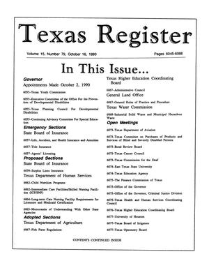 Primary view of object titled 'Texas Register, Volume 15, Number 79, Pages 6045-6088, October 16, 1990'.