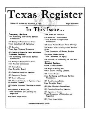 Primary view of object titled 'Texas Register, Volume 15, Number 83, Pages 6263-6345, November 2, 1990'.