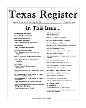 Primary view of object titled 'Texas Register, Volume 15, Number 87, Pages 6631-6695, November 20, 1990'.