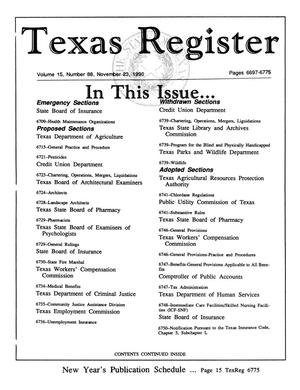 Primary view of object titled 'Texas Register, Volume 15, Number 88, Pages 6697-6775, November 23, 1990'.