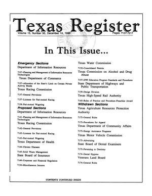 Primary view of object titled 'Texas Register, Volume 15, Number 93, Pages 7137-7217, December 14, 1990'.