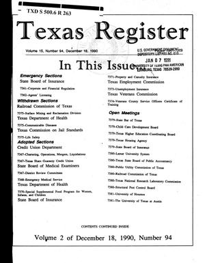 Texas Register, Volume 15, Number 94, (Volume 2), Pages 7361-7389, December 18, 1990
