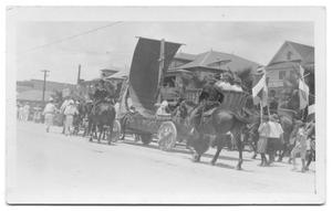 Primary view of object titled '[Horses and float in parade]'.