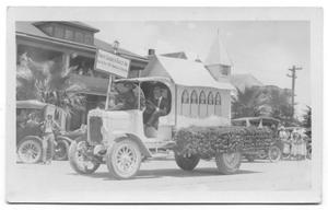 Primary view of object titled '[Church float in parade]'.