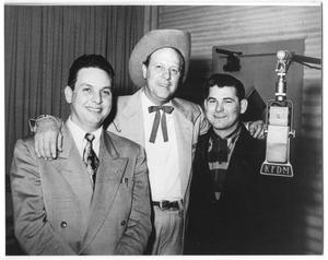 Primary view of object titled '[Photograph of Moon Mullican at a KFDM Recording]'.