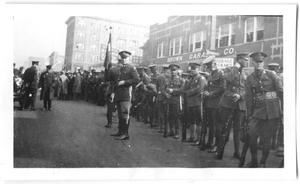 Primary view of object titled '[Military Walking in Parade]'.