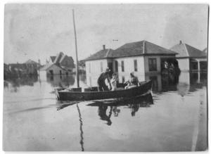Primary view of object titled '[Photograph of People Boating Over Floodwaters in Port Arthur, Texas, 1915]'.