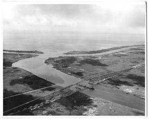 Primary view of object titled '[Photograph of Aerial View of Rainbow Bridge, 1957]'.