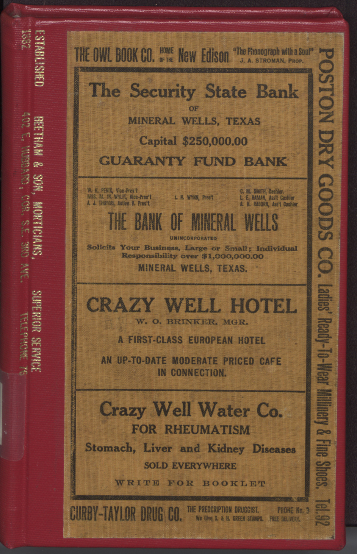 [R.L. Polk & Co.'s Mineral Wells City Directory, 1920]                                                                                                      [Sequence #]: 1 of 232
