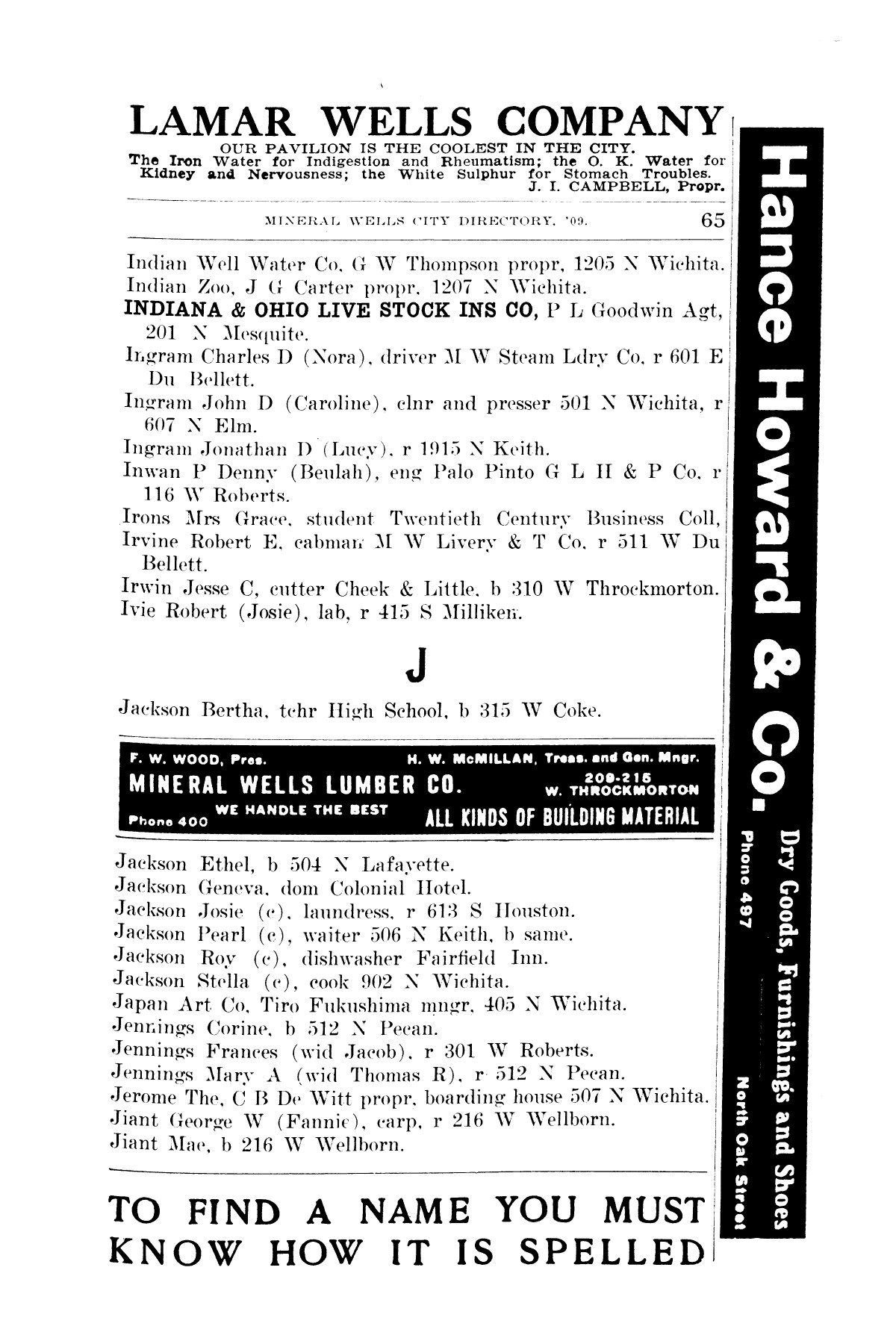 R L Polk Amp Co S Mineral Wells City Directory 1909