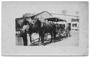 Primary view of object titled '[Horses Hitched to Wagon]'.