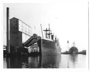Primary view of object titled '[Ship at Grain Elevator]'.