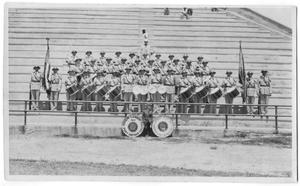 Primary view of object titled '[Band Standing in Bleachers]'.