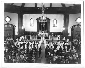 Primary view of object titled '[Church Interior During Service]'.