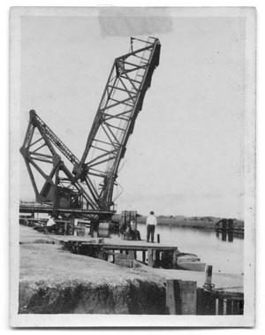 Primary view of object titled '[Bridge Damaged by Being Struck by Ship]'.