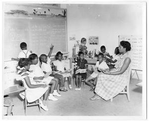 Primary view of object titled '[Children Reading in Classroom]'.