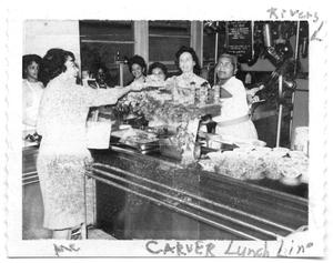 Primary view of object titled '[Carver Elementary School Lunch Line]'.