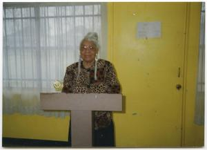 Primary view of object titled '[Dorothy Ingram at Podium]'.