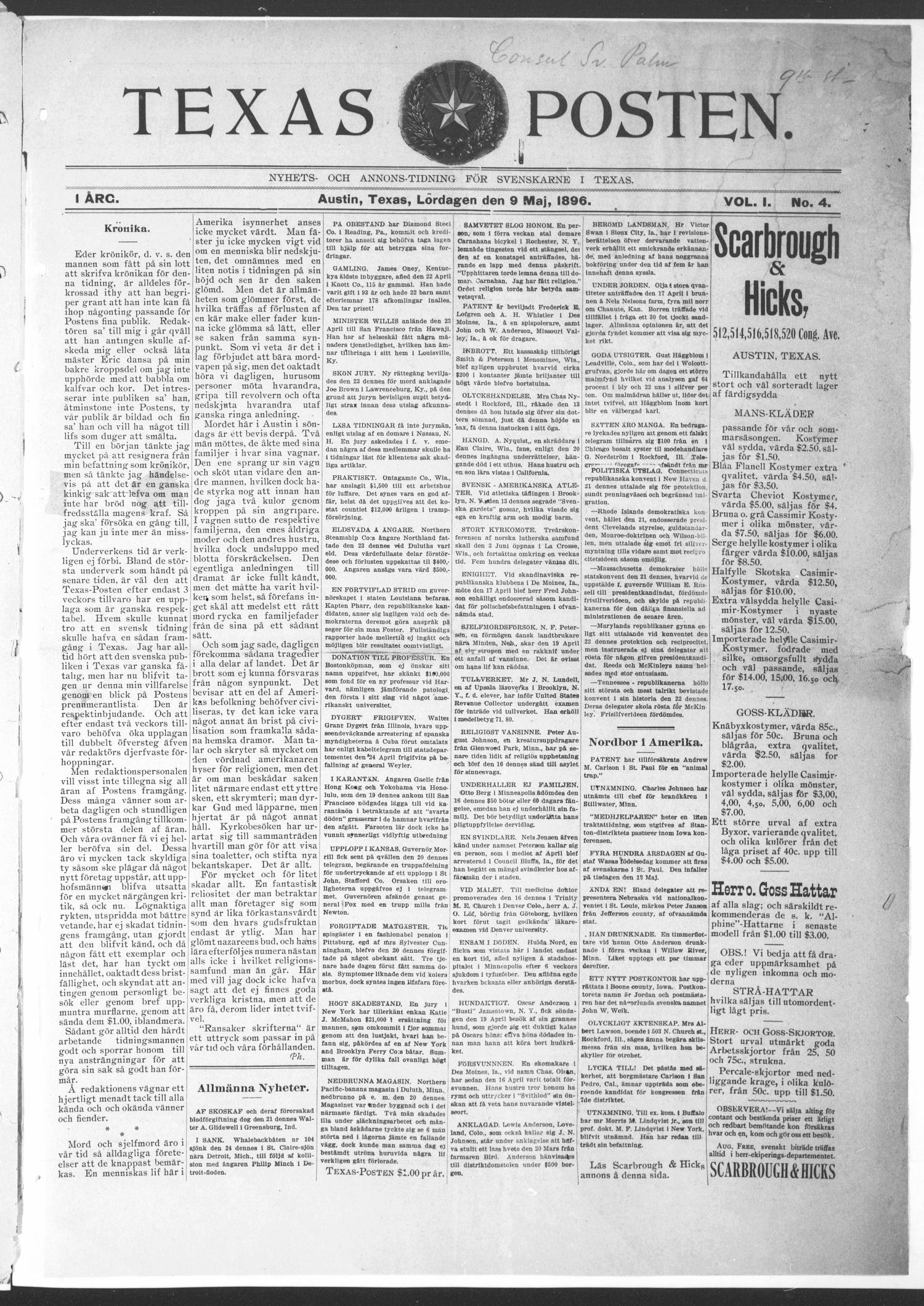 Texas Posten (Austin, Tex.), Vol. 1, No. 4, Ed. 1 Saturday, May 9, 1896                                                                                                      [Sequence #]: 1 of 8