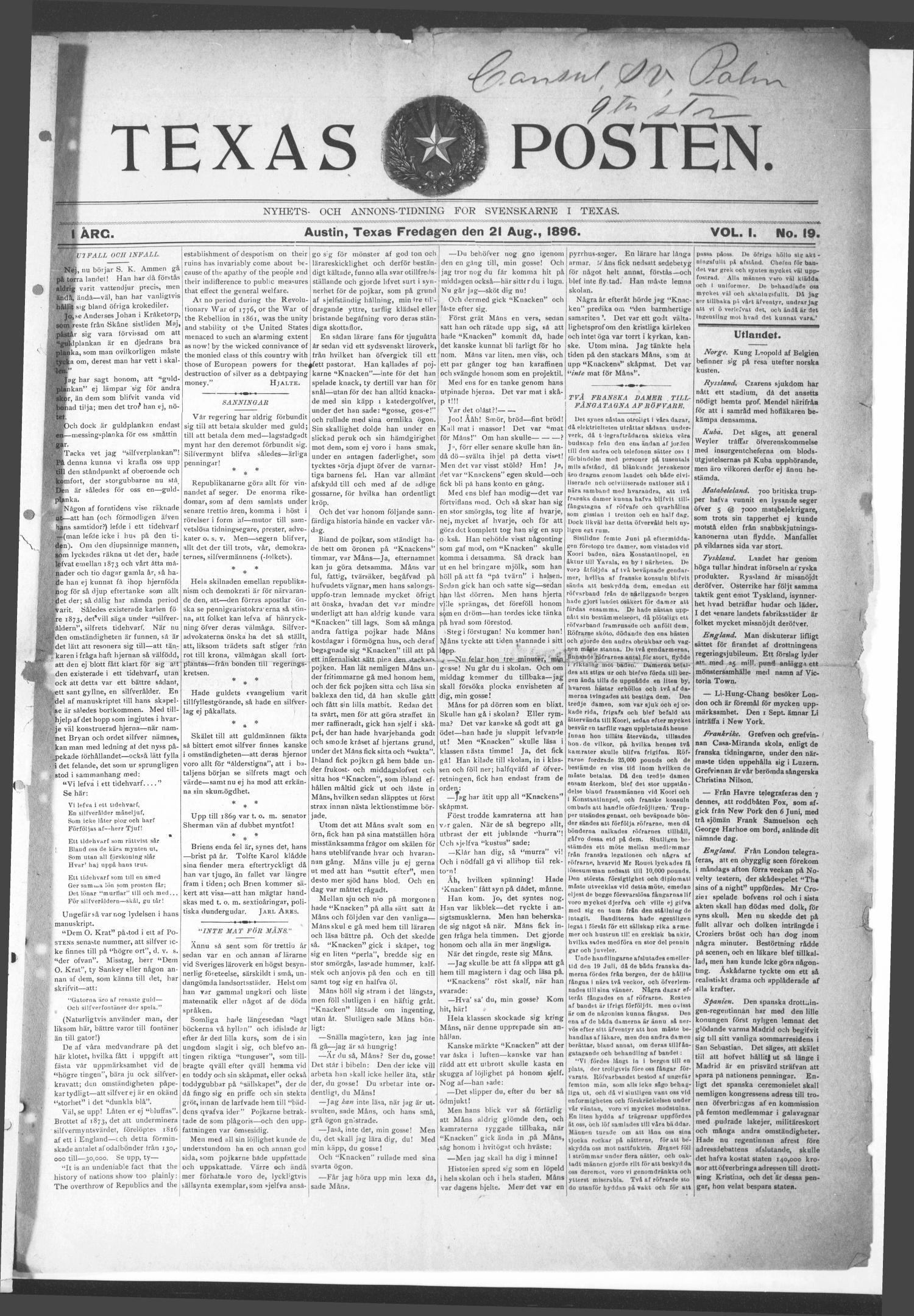 Texas Posten (Austin, Tex.), Vol. 1, No. 19, Ed. 1 Friday, August 21, 1896                                                                                                      [Sequence #]: 1 of 4