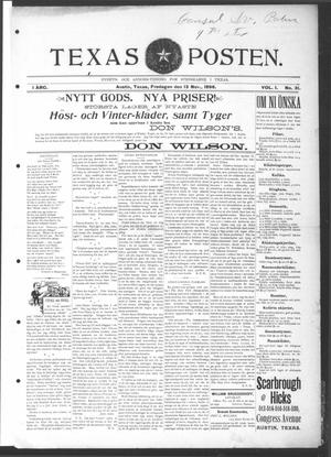 Texas Posten (Austin, Tex.), Vol. 1, No. 31, Ed. 1 Friday, November 13, 1896