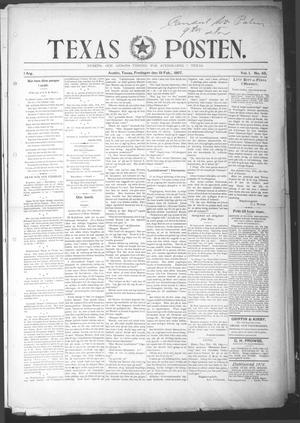 Primary view of object titled 'Texas Posten (Austin, Tex.), Vol. 1, No. 45, Ed. 1 Friday, February 19, 1897'.