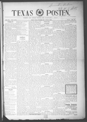 Primary view of object titled 'Texas Posten (Austin, Tex.), Vol. 2, No. 39, Ed. 1 Friday, January 7, 1898'.