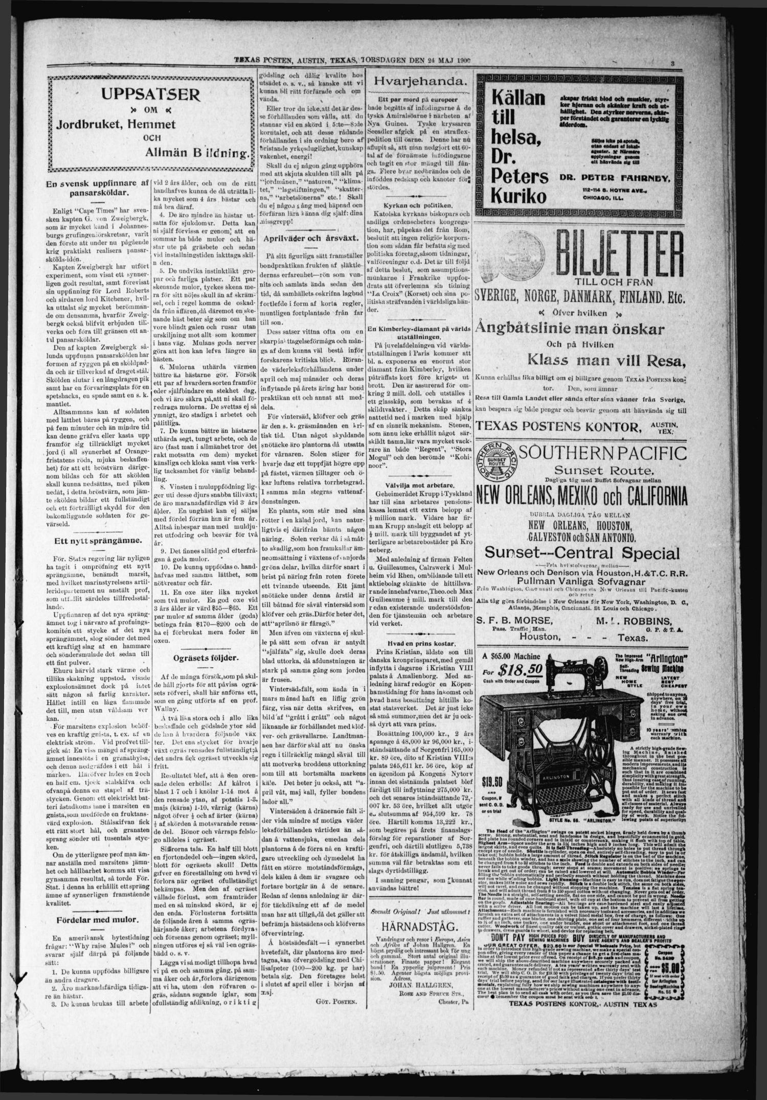 Texas Posten (Austin, Tex.), Vol. 5, No. 21, Ed. 1 Thursday, May 24, 1900                                                                                                      [Sequence #]: 3 of 8