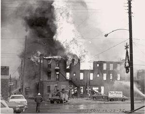 [The Damron Hotel Fire, 20 of 21:   Different View of the Fire]