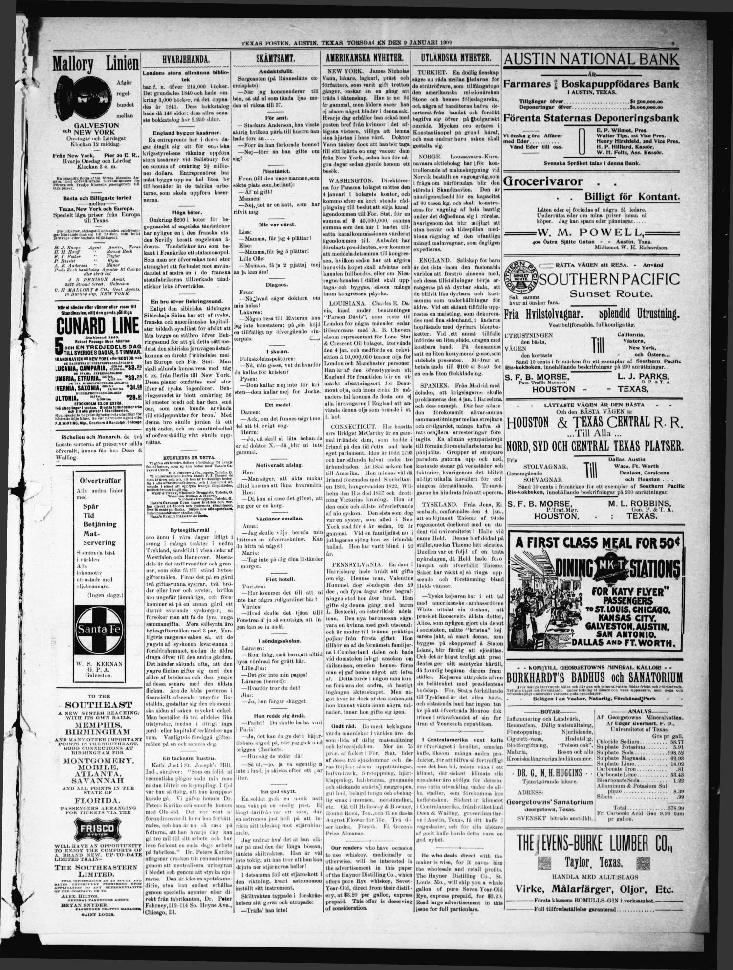 Texas Posten (Austin, Tex.), Vol. 7, No. 2, Ed. 1 Thursday, January 9, 1902                                                                                                      [Sequence #]: 3 of 8