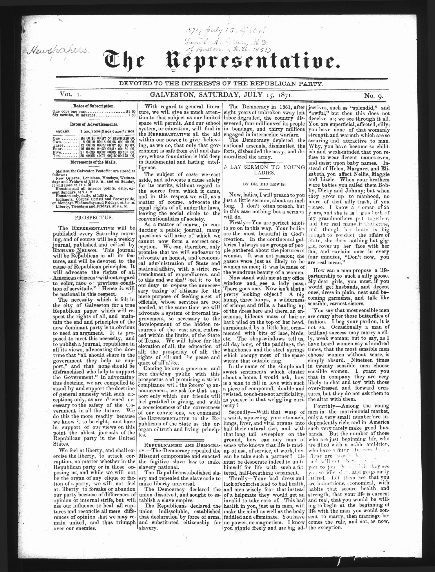 The Representative. (Galveston, Tex.), Vol. 1, No. 9, Ed. 1 Saturday, July 15, 1871                                                                                                      [Sequence #]: 1 of 4