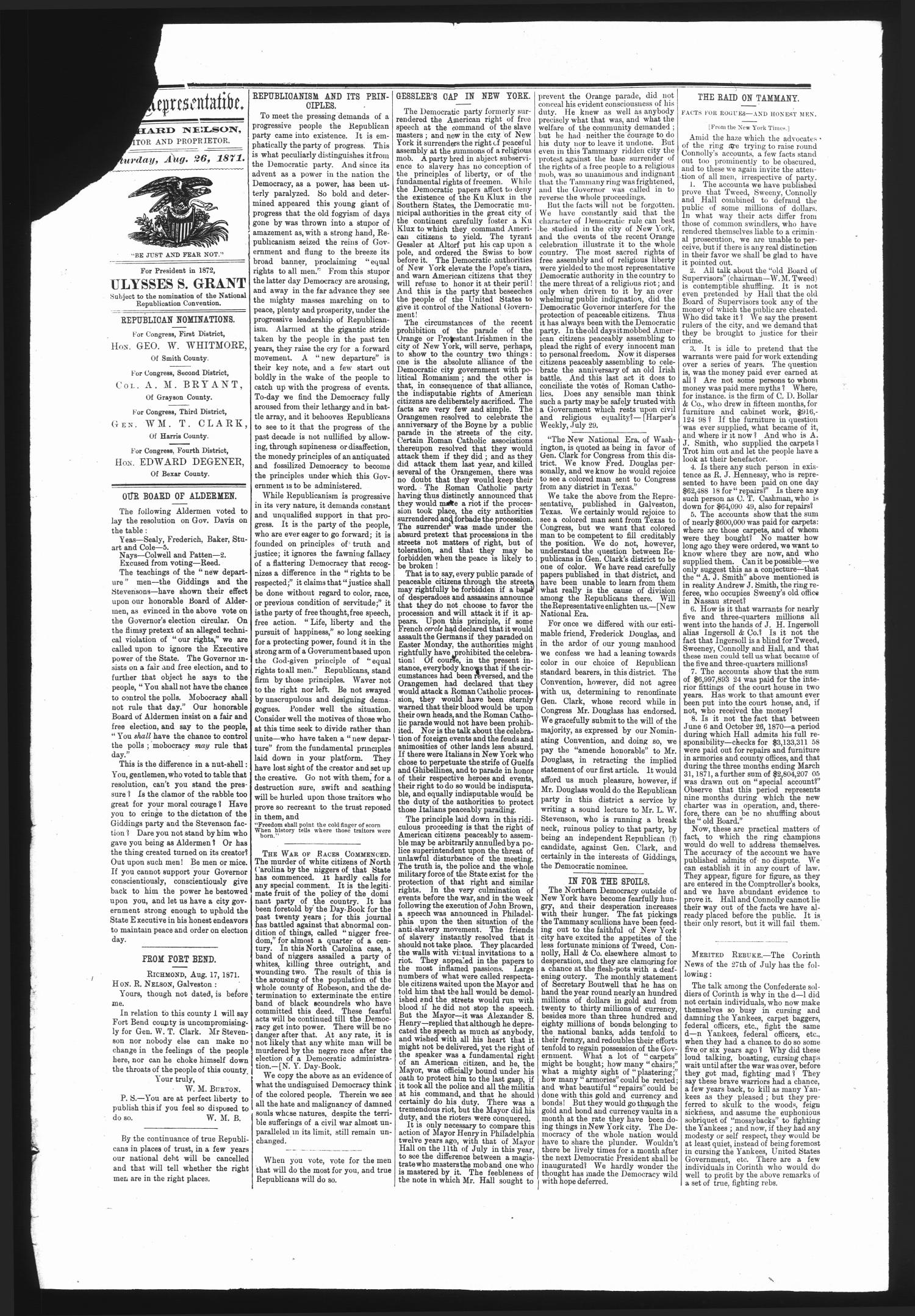The Representative. (Galveston, Tex.), Vol. 1, No. 13, Ed. 1 Saturday, August 26, 1871                                                                                                      [Sequence #]: 2 of 4
