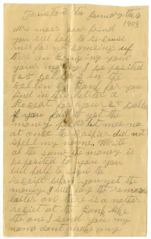 Primary view of object titled '[Letter from G. W. Duncan to Mary Ann Moore, January 6, 1903]'.