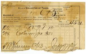 Primary view of object titled '[Receipt for taxes, December 13, 1892]'.