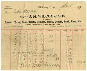 Primary view of object titled '[Receipt from J. M. Wilcox and Son, March 25, 1897]CBM_1687-003-012'.