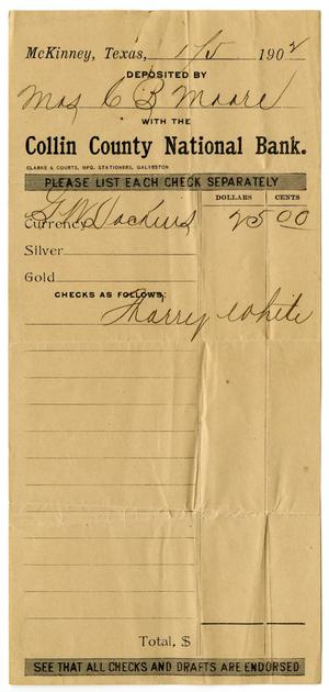 Primary view of object titled '[Deposit Slip, January 1, 1902]'.